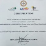Makilala Municipality a certified passer for 2016 Good Financial Housekeeping
