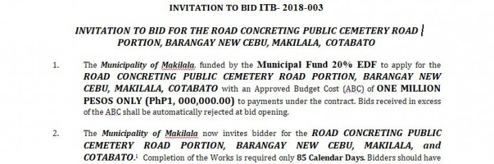 INVITATION TO BID ITB- 2018-003 – THE ROAD CONCRETING PUBLIC CEMETERY ROAD PORTION, BARANGAY NEW CEBU, MAKILALA, COTABATO