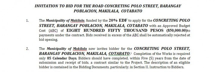 INVITATION TO BID ITB- 2018-004  INVITATION TO BID FOR THE ROAD CONCRETING POLO STREET, BARANGAY POBLACION, MAKILALA, COTABATO