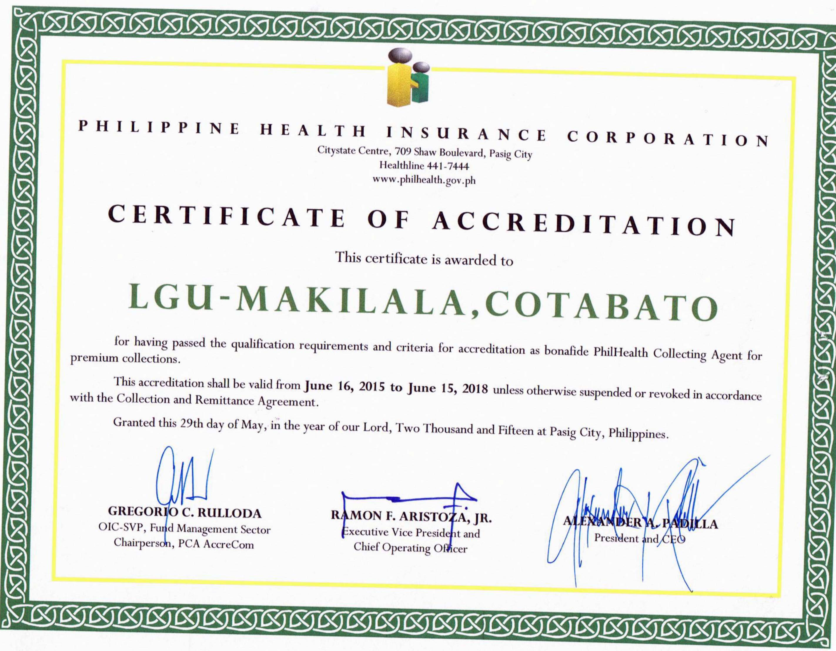 Philhealth awards lgu makilala certificate of accreditation as corporation philhealth awarded the local government unit lgu of makilala with the certificate of accreditation as a bonafide philhealth collecting xflitez Gallery