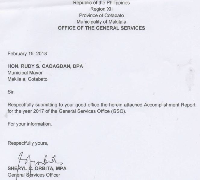 Accomplishment Report For The Year  Of General Services Office