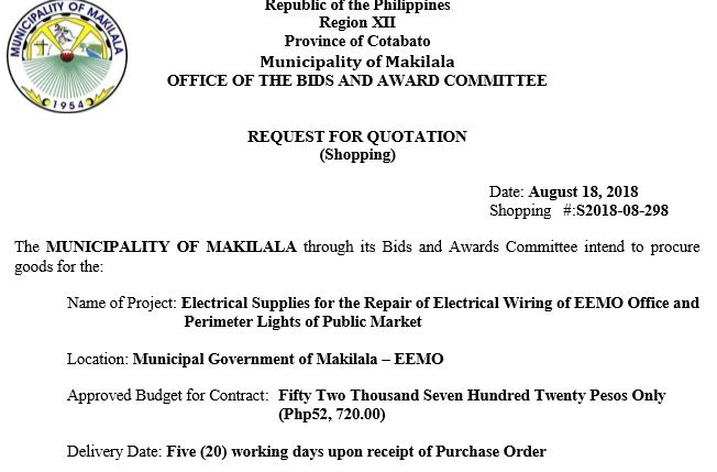 REQUEST FOR QUOTATION Shopping #:S2018-08-298 – Bayan ng ... on
